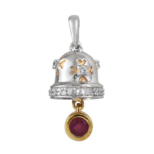African Ruby (Rnd), Natural Cambodian Zircon Bell Pendant in Platinum and Yellow Gold Overlay Sterli