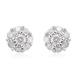 9K White Gold SGL CERTIFITED Diamond (Rnd) (I3/G-H) Earrings (with Push Back)  0.250 Ct.