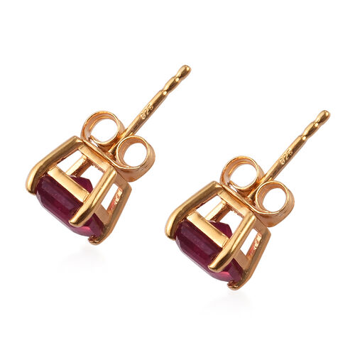African Ruby (Asscher Cut) Stud Earrings (with Push Back) in 14K Gold Overlay Sterling Silver 3.00 Ct.