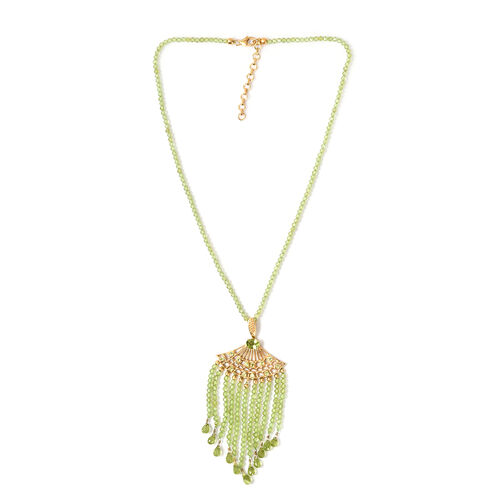 127.50 Ct Hebei Peridot Lariat Necklace in 14K Gold Plated Sterling Silver 18 Inch