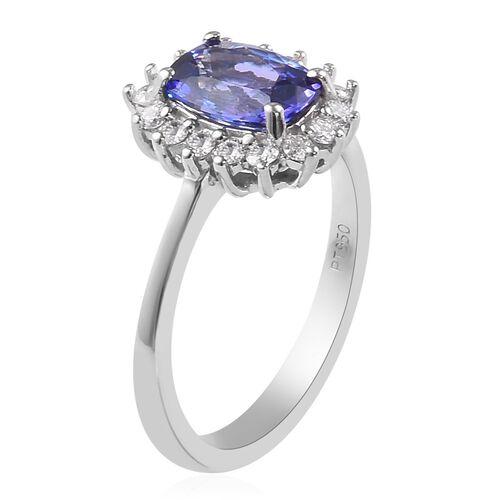 RHAPSODY 950 Platinum AAAA Tanzanite and Diamond (VS/E-F) Ring 2.00 Ct.