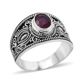 Royal Bali Collection African Ruby (Ovl 8x6 mm) Solitaire Ring in Sterling Silver 1.840 Ct, Silver w