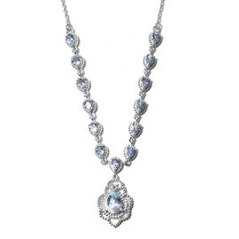 AA Aquamarine Necklace (Size 18 with 2 inch Extender) in Platinum Overlay Sterling Silver 2.75 Ct, S