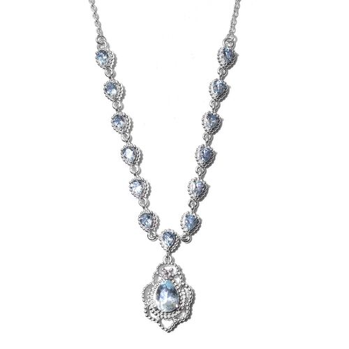 AA Santa Teresa Aquamarine Necklace (Size 18 with 2 inch Extender) in Platinum Overlay Sterling Silv