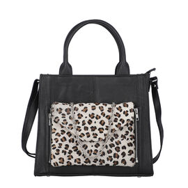 100% Genuine Leather 3-in-1 Leopard Pattern Handbag (30x26x8cm) with Detachable Clutch (21x16cm) wit