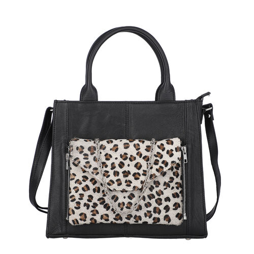 100% Genuine Leather 3-in-1 Leopard Pattern Handbag (30x26x8cm) with Detachable Clutch (21x16cm) wit