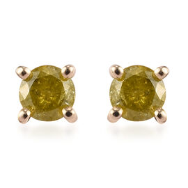 9K Yellow Gold SGL Certified Yellow Diamond (I3) Solitaire Stud Earrings (with Push Back) 0.25 Ct.