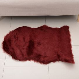 Faux Sheep Skin Rug (Size 100x60 Cm) - Red