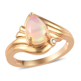 Designer Inspired- One Time Deal Ethiopian Welo Opal and Natural Cambodian Zircon Ring in 14K Gold O
