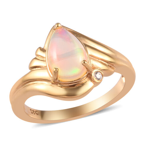 1 Carat Ethiopian Welo Opal and Zircon Solitaire Ring in Gold Plated Sterling Silver