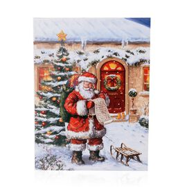 Fiber Optic Light Framed Canvas Christmas Painting Wall Decor