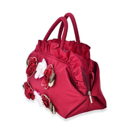 3D Flowers and Ruffle Embellished Red and Cream Colour Tote Bag (Size 30X17.5X13 Cm)