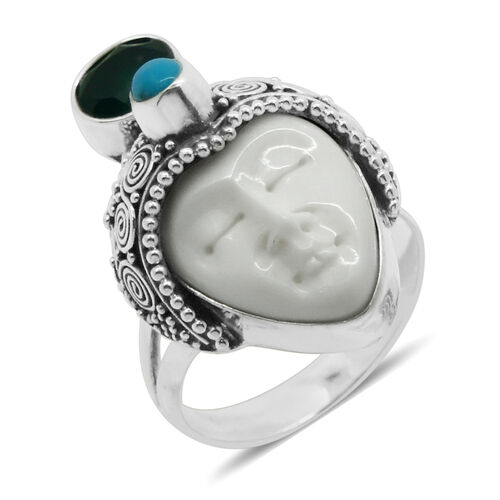 Princess Bali Collection OX Bone Carved Face (Ovl 8.00 Ct), Green Onyx and Arizona Sleeping Beauty Turquoise Ring in Sterling Silver 9.530 Ct.
