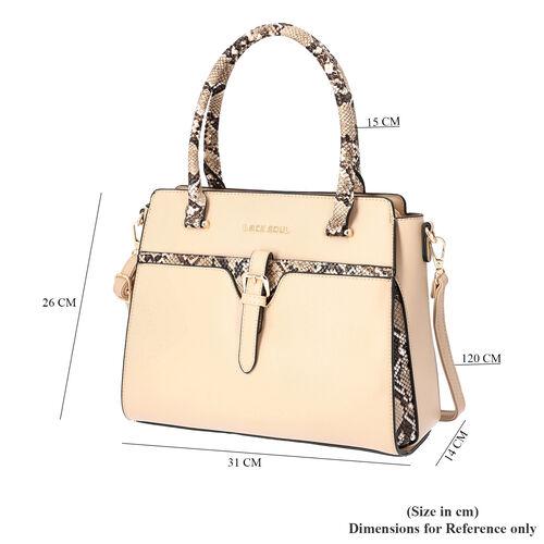LOCK SOUL Snake Pattern Handbag with Detachable Shoulder Strap (31x14x26cm) - Khaki