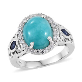 3.21 Ct Peruian Amazonite, Cambodian Zircon and Kanchanaburi Sapphire Ring in Sterling Silver 5 Gms