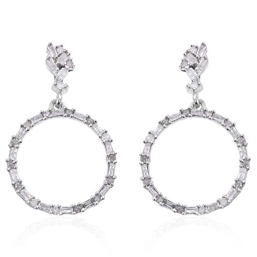 Designer Inspired- Fireworks Diamond (Rnd and Bgt) Circle Earrings (with Push Back) in Platinum Overlay Sterling Silver 0.500 Ct.