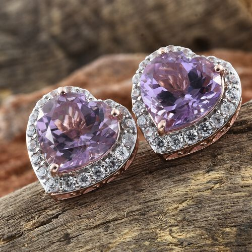 12.75 Ct Rose De France Amethyst and Natural Cambodian Zircon Heart Stud Earrings in Rose Gold Plated Silver (with Push Back)