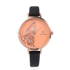 STRADA Japanese Movement White Crystal Studded Butterfly Water Resistant Watch with Black Colour Strap
