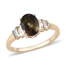 Super Auction- 14K Yellow Gold AAA Brazilian Andalusite (Ovl 8x6 mm), Diamond Ring (Size P) 1.35 Ct.