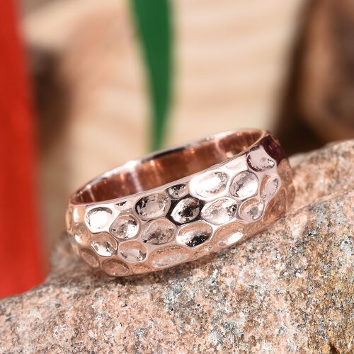7mm Texture Band Ring in Rose Gold Overlay Sterling Silver