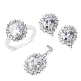 3 Piece Set - Simulated Diamond (Ovl and Rnd) Ring, Pendant and Earrings (with Push Back) 11.45 Ct.