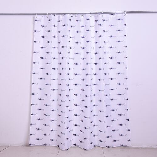 White Waterproof Shower Curtain with Shark Pattern and 12 Hooks (180x180cm)