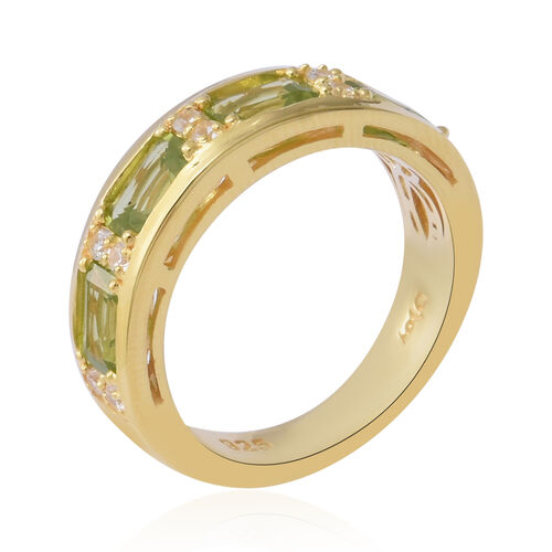 AA Hebei Peridot and Natural Cambodian Zircon Eternity Ring in Yellow Gold Overlay Sterling Silver 2.53 Ct, Silver wt 4.60 Gms