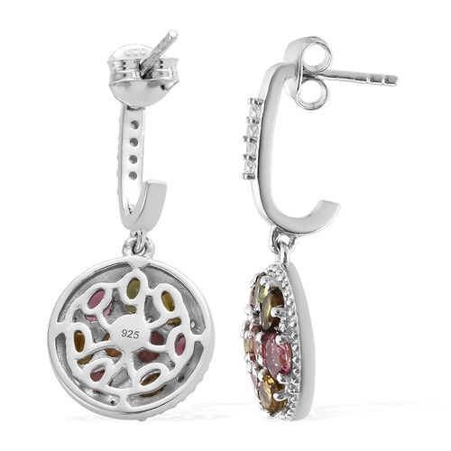 Rainbow Tourmaline (Ovl, Pear and Rnd) J Hoop Cluster Earrings (with Push Back) in Platinum Overlay Sterling Silver 3.750 Ct.