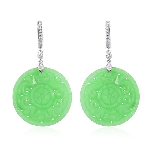 Limited Edition-Buddhist Dharma Wheel Carved Green Jade (Rnd), Natural White Cambodian Zircon Earrings (with Clasp) in Rhodium Plated Sterling Silver 55.200 Ct.