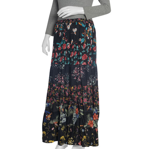 Designer Inspired -Midnight Floral Print Patchwork Maxi Skirt  (Free Size 135x97x76 Cm)
