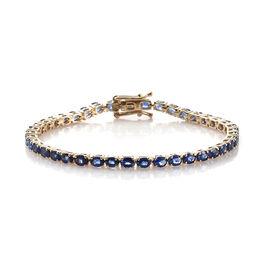 9K Yellow Gold AAA Royal Ceylon Sapphire (Ovl) Bracelet (Size 7)  9.000 Ct.