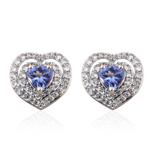 9K Yellow Gold AA Tanzanite (Hrt), Natural Cambodian Zircon Heart Stud Earrings (with Push Back) 1.7