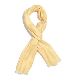 100% Cashmere Wool Golden and White Colour Polka Dots Pattern Scarf with Fringes