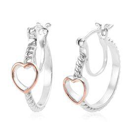 Gold and Platinum Overlay Sterling Silver Heart Hoop Earrings (with Clasp)
