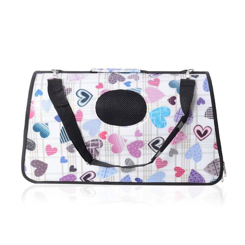 White and Multi Colour Heart Shape Pattern Pet Carrier with Zipper (Size 45x28x20 Cm), Unfoldable Si