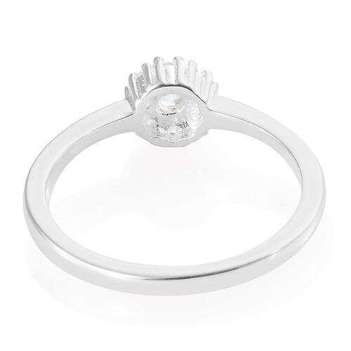 J Francis- Sterling Silver (Rnd) Floral Ring Made with SWAROVSKI ZIRCONIA
