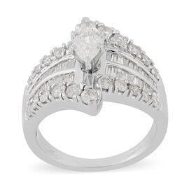 14K White Gold Natural White Diamond Ring 1.30 Ct, Gold wt 6.80 Gms