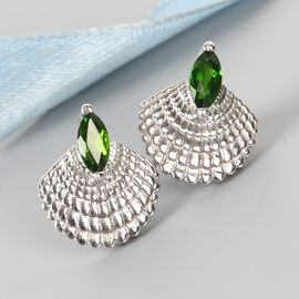 Russian Diopside Sea Shell Earrings (with Push Back) in Platinum Overlay Sterling Silver 0.610 Ct.