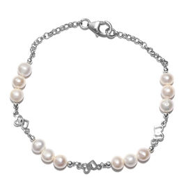 Freshwater White Pearl Bracelet (Size 7.5) in Platinum Overlay Sterling Silver