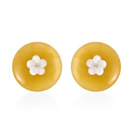 Carved Yellow Jade, White Mother of Pearl and Natural White Cambodian Zircon Earrings (with Push Bac