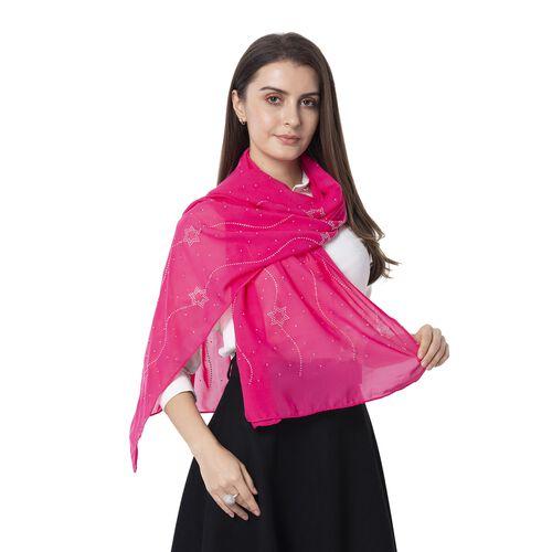Star Pattern Crystal Embellished Pink Scarf (Size 80 x 50 Cm)