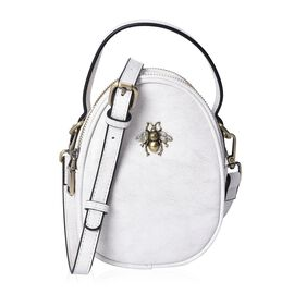 100% Genuine Leather White Colour Cross Body Bag (Size 13x7x13.8 Cm) with Detachable Shoulder Strap