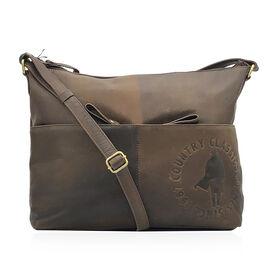 MCS Country Classics: 100% Genuine Leather Handbag - Dark Brown