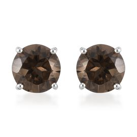Brazilian Smoky Quartz Stud Earrings (with Push Back) Platinum Overlay Sterling Silver 5.20 Ct