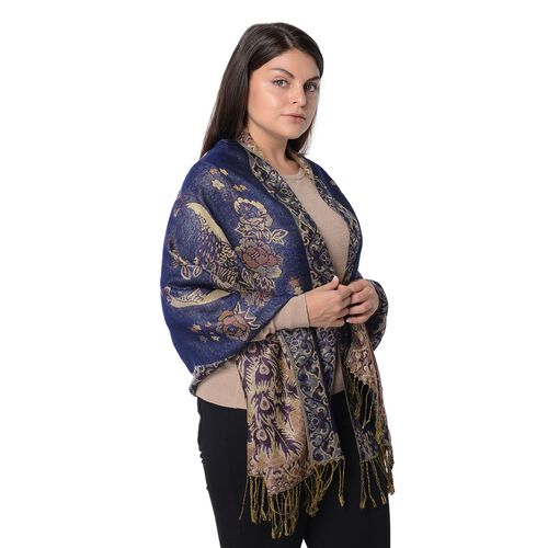 Deisgner Inspired- Navy and Gold Colour Peacock and Floral Pattern Winter Scarf (Size 68x170x7.6 Cm)