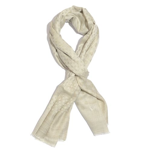 100% Fine Cashmere Wool Cream Colour Polka Dots Pattern Scarf (Size 200x70 Cm)