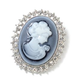 Cameo (Ovl 38x29 mm), White Austrian Crystal Brooch 15.00 Ct. in Silver Tone