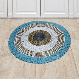 Bali Collection - 100% Handmade Woven Seagrass Rug (Size:100x1x100Cm) - White, Grey and Light Blue