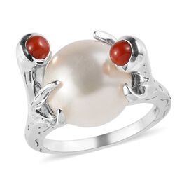 Sundays Child - Freshwater Pearl, Coral Ring in Platinum Overlay Sterling Silver, Silver wt. 5.00 Gm
