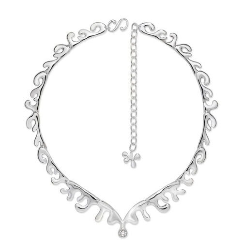 LucyQ Full Outer Wave Necklace (Size 16 with 4 inch Extender) in Sterling Silver 44.00 Gms.
